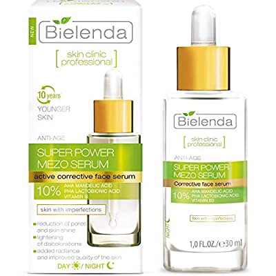 Bielenda Skin Clinic - Face Serum - Reduces Wrinkles, Smoothes And Evens The Skin - Improves Hydration And Skin Firmness - Skin Clinic Professional Face Serum With Mandelic + Lactobionic Acid - 30 ml from Bielenda