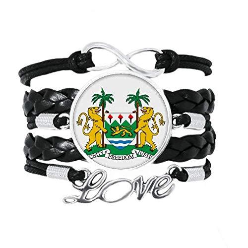DIYthinker Sierra Leone Africa National Emblem Bracelet Love Accessory Twisted Leather Knitting Rope Wristband Gift