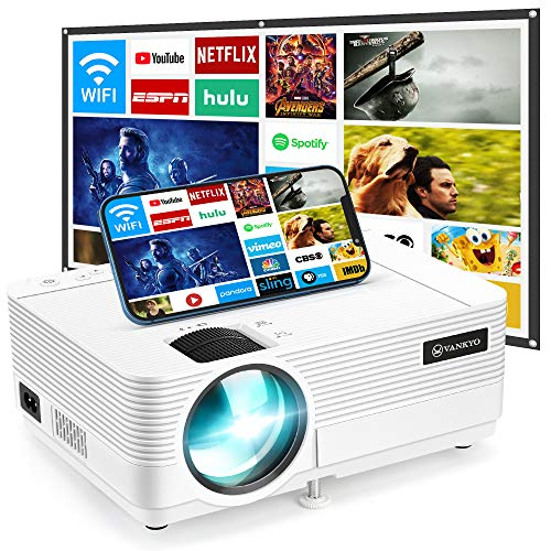 "VANKYO Leisure 470 Mini WiFi Projector w/ 100 Inch Projection Screen, Full HD 1080P & 250"" Display Supported, 2021 Upgraded Movie Projector for Outdoor & Indoor, Compatible with TV Stick & iPhone"