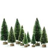KATELUO 9 Pièces Arbre de Noël Mminiature,Sapin de Noel Miniature,Mini Arbre de Noël Artificiel avec Bases en Bois,DIY,Décoration de Table/Noël (Vert)