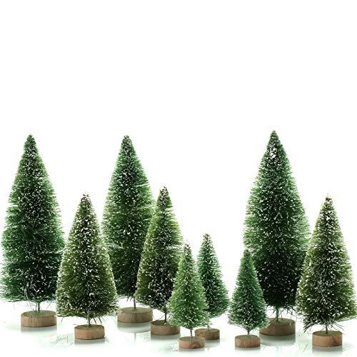 KATELUO 9 Piezas Mini Árbol de Navidad,Nini Árbol de Navidad Artificial,Mini Árbol de Navidad Pequeño con Bases de Madera,Decoración de Oficina/Hogar/Navideño/Micro Paisaje,DIY,3 Tamaños (Verde)