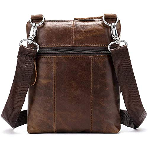 Herren Ledertasche Umhängetasche Klein Vintage Messenger Bag Fürtablethülle Männer Handtasche Echtleder, Braun