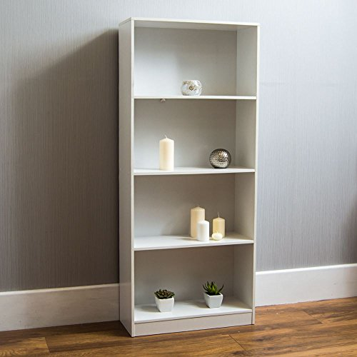 Vida Designs Cambridge - Libreria con 4 ripiani, in legno, colore: bianco
