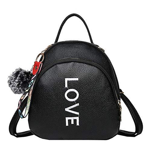 Girl Hairball Leather School Bag Pure Color Backpack Satchel Travel Shoulder Bag Women Backpacks Schoolbag for Teenagers2,Black
