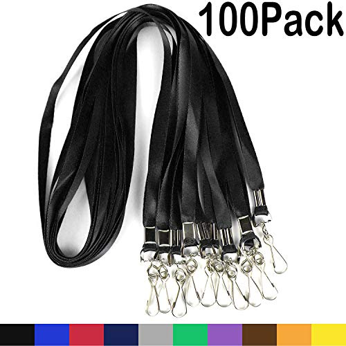 Bulk Lanyards Premium Cruise Lanyard Nylon Badge Lanyards for Id Holder Perfect for Office, Kids, Teachers (Black, 100Pack)