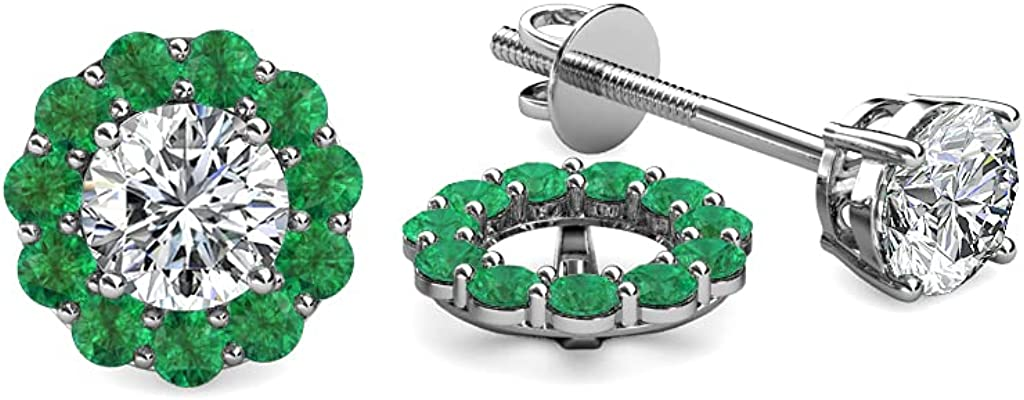 TriJewels Emerald Halo Jacket for Stud Earrings 0.52 ct tw in 14K White Gold