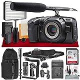 Blackmagic Design Pocket Cinema Camera 4K with Micro Four Thirds Mount + Audio-Technica ATR6550 Condenser Shotgun Microphone, LED Light, 64GB Card, Monopod, Backpack, Strap & Complete Video Bundle