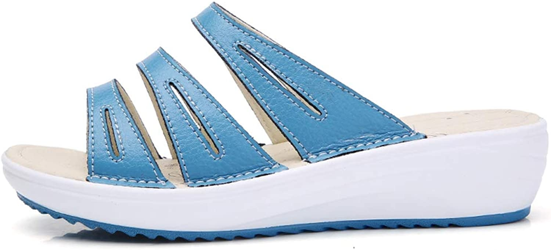 Btrada Women Summer Platform Wedges Clogs Slides Sandals Female Wedges Soft Leather Beach Sandals