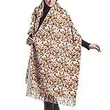 Bufanda de invierno con diseño floral para mujer, vestido de noche, dama de honor, boda, novia, largo, grande, cálido, grueso, reversible