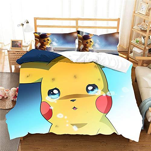 Meiju Duvet Cover Set Cartoon Mouse Print 3pcs, Microfiber Anti-fading Easy Care Bedding Set Single Double King Size Soft Quilt Covers + 2 * Pillowcases (Pokemon Pikachu-H,180x220cm)