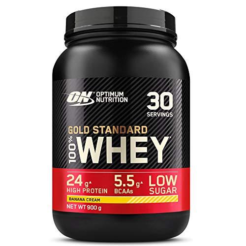 Optimum Nutrition Gold Standard 100% Whey Proteína en Polvo, Glutamina y Aminoácidos Naturales, BCAA, Crema de Plátano, 30 Porciones, 900g, Embalaje Puede Variar 🔥