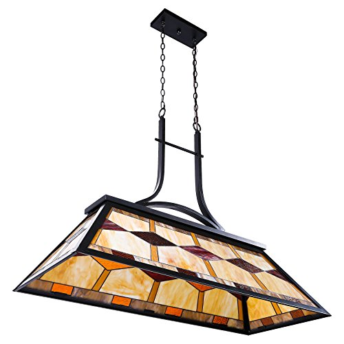 CO-Z Pool Table Light, Billiard Hanging Lighting Fixture for Game Room 7-9 Feet Table, 3 Lights Kitchen Island Chandelier for Men's Cave, Antique Bronze Finish Billiards Light with Stained Glass Shade