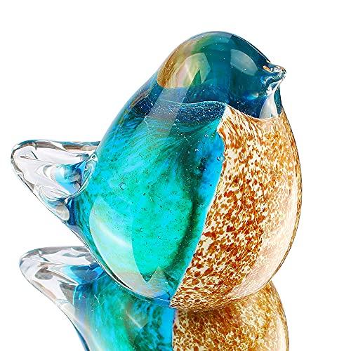Hophen Art Glass Crystal Bird Figurine Handmade Blown Glass Paper Wight Mother`s Day Gift Home Ornament (#1)