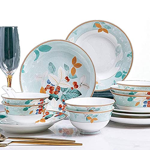 DGHJK Juego de vajilla de 30 Piezas, Juego de Platos de Porcelana de Porcelana para Uso Diario y Formal, Estilo Americano de Flores de Colores y diseño de Phnom Penh, Apto para microondas