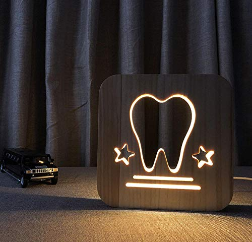 3D night light solid wood carving hollow creative craft LED table lamp(tooth)