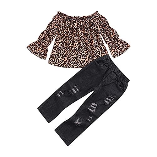 MAHUAOYIXI 2 Piezas Chica Completa Camiseta de Manga Larga con Estampado de Leopardo y Pantalones Vaqueros Lisos Chica Moda Algodón Slim Casual Cómoda (Leopardo, 1-2 años)