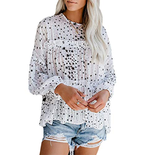 Vrouwen Mode Lange Mouw Ronde hals Ster Patroon Blouse T-shirt Tees Tops