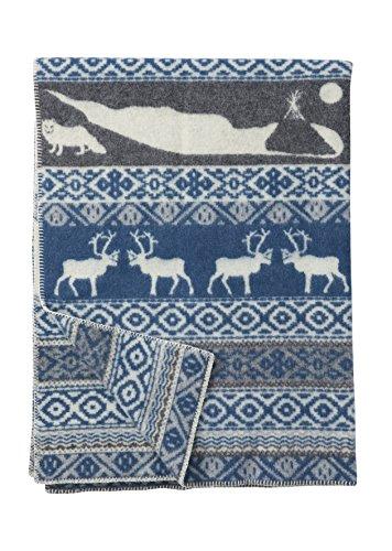 KLIPPAN 'eco wool': Creme-grau/blaue Jacquard Wolldecke 'Sarek' aus Bio- Lammwolle 130x180cm