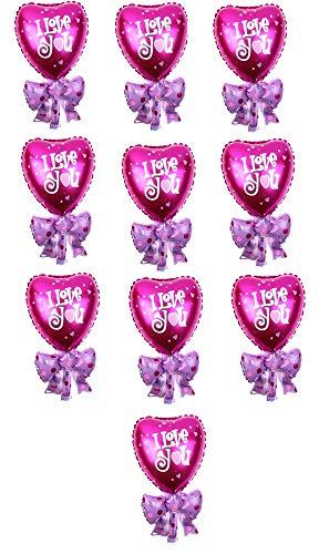 10 hartballonnen - strik - snoep - roze - fuchsia - iyou - 37 x 32 cm - valentijnsdag - jubileum - bruiloft - feest - decoraties - vriendin - vriendje - gevierd i love you