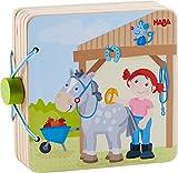 HABA 303774 - Holz-Babybuch Reiterhof   Stabiles Holzbuch ab 10 Monaten  Leicht zu greifende Seiten aus Holz mit bunten Pferdemotiven - Ines Frömelt