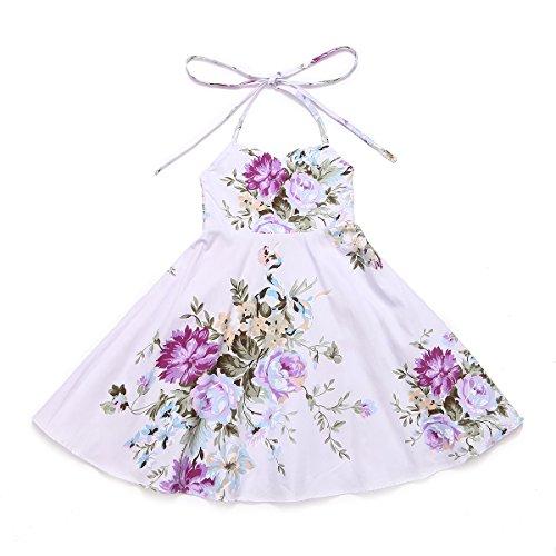 Flofallzique Purple Floral Girls Party Dress Summer Casual Cotton Toddler Dress(6, Purple)