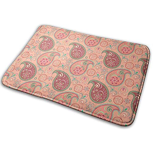 Joe-shop Paisley Boho Bloemen Patroon Print Lattice Champagne Gooi Gebied Grond Mat Accent Floor Party Buiten Set Restroom Keuken Deurmat