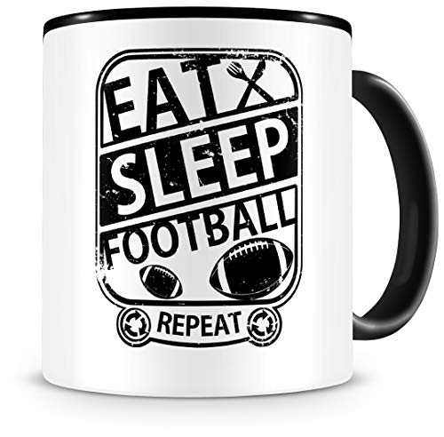 Samunshi® Football Tasse mit Spruch Eat Sleep Football Repeat Geschenk für Footballer Kaffeetasse groß Lustige Tassen zum Geburtstag schwarz 300ml