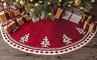 LimBridge Christmas Tree Skirt, 48 inches Tree Pattern Knitted Thick Heavy Yarn Rustic Xmas Holiday Decoration, Cream Burgundy