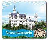 1art1 Schloß Neuschwanstein - Königliches Wappen Und Bayerische Fahne Mauspad 23 x 19 cm