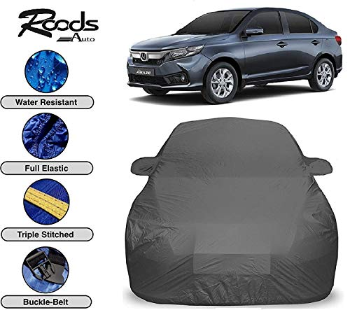 ROODS AUTO™ Prime Quality Car Cover for New Honda Amaze Waterproof with Triple Stitched Fully Elastic Ultra Surface Body Protection (Grey Look)
