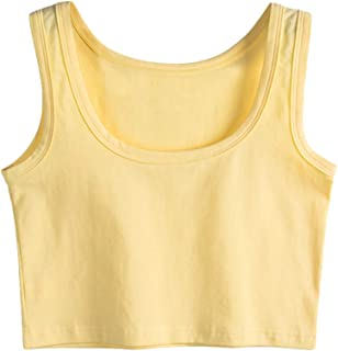 Womens Basic Solid Sleeveless Tank Crop Top