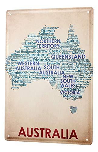 LEotiE SINCE 2004 Blechschild Dekoschild Küche Garage Welt Reise Australien Landkarte Wand Deko Schild 20X30 cm