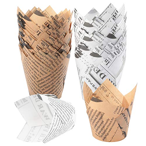 TRUSBER Baking Cups, 150 pieces Tulip Cupcake Liners Baking Cup Holders and Muffin Baking Cups for Wedding, Birthday, Christmas, Baby Shower Parties (Gold News Print and White News Print)
