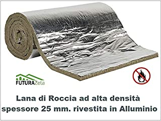 Futurazeta – Aislamiento de altas temperaturas, colchón ignífugo para revestimiento de chimeneas, grosor 25 mm. Fieltro de lana de roca + aluminio