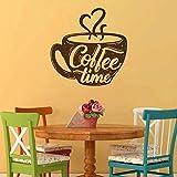 Café bebida capuchino bebida caliente grano café comida hecha a mano ventana etiqueta de la pared de vidrio