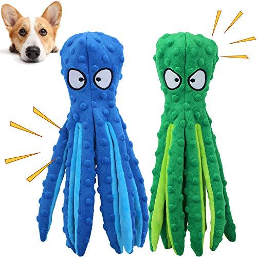 GHEART Quietsch Spielzeug für Hunde, Plüschstoff Spielzeug, Quietschendes Kauspielzeug für Welpen, Kleine und Mittelgroße Hunde, Hundespielzeug Plüschtier ohne Füllung, 2 Stück, 32cm