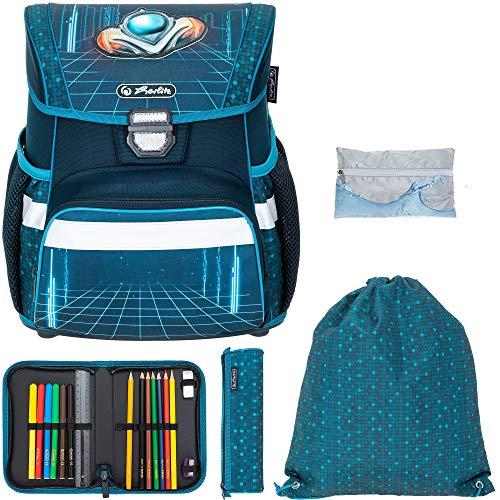 Schulranzen Herlitz Loop Plus Jungen Mädchen Ranzen Tornister Schultasche leicht 5 Teile Set mit Regenhülle (Space Car 2501)