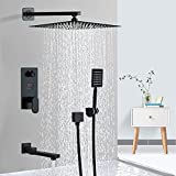 Conjunto de ducha negro con columna de ducha empotrable...