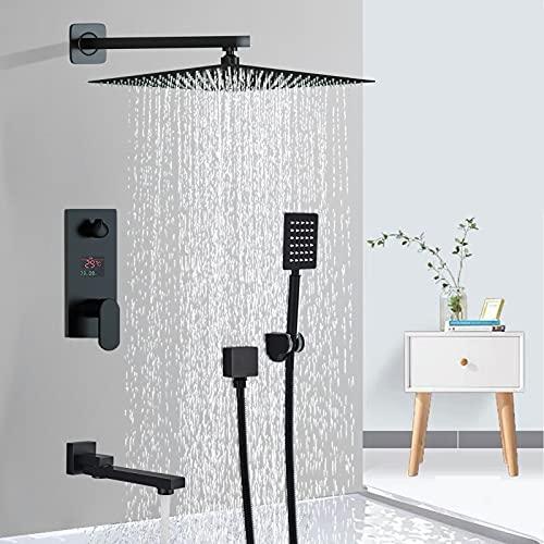 Conjunto de ducha negro con columna de ducha empotrable con cabezal de ducha 20 x 20 cm, ducha mezclador de cascada con tecnología de inyección de aire avanzada oculto - Instalación en pared
