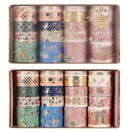Gitua 20 Rollen Washi Tape Set, Pastell Dekorative Klebeband für Scrapbooking, Journal, DIY Handwerk, Geschenke Dekoration (Multi)