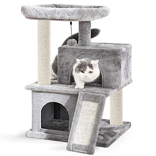 Suministros para Mascotas Luxury Pet Cat Cat Stiming Mark Multi-Capa Gato Grande Cat Multi-Nivel Cats Indoor Gatos Condominio con Hamaca y Postes de rasguño para Gatitos-Metro_Gris Claro 85 cm