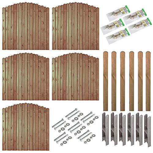 """Sichtschutz-Zaun \""""Bochum\"""" Komplett-Set mit 5 Zäunen (180 x 180 auf 160 cm) // ca. 9,5 lfd. Meter // aus Kiefer/Fichte Holz // + Vierkant-Pfosten (9 x 9 x 165 cm) mit Rundkopf + Montagematerial"""