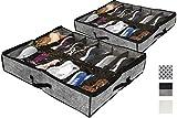 2 PACK Shoe Organizer for Under Bed Shoe Storage or Shoe Organizer for Closet. Great Shoe Holder for underbed shoe storage | Boot Storage bags with handles boot boxes (Dark Grey, Shoe Organizer)