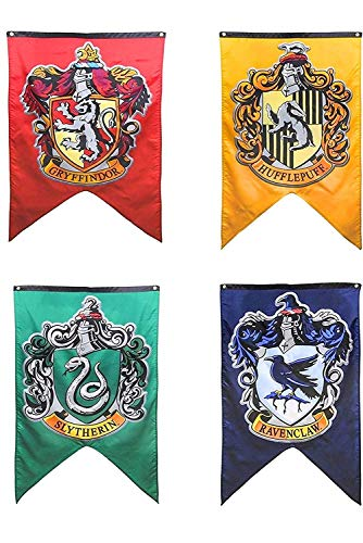 Harry Potter Complete Hogwarts House Wall Banners, Ultra Premium Double Layered Indoor Outdoor Party Flag - Gryffindor, Slytherin, Hufflepuff, Ravenclaw - 30'X 50' (4PACK)