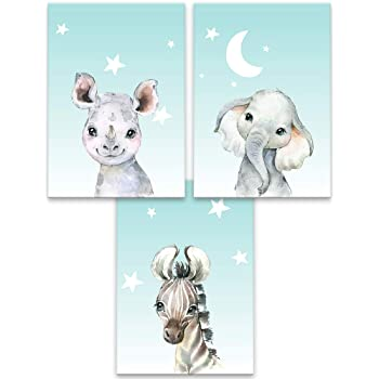 Set of 3 Unframed Nursery Prints for Boys Beautiful Safari Animals Wall Art D/écor Lilcastle Kids Posters din A4 Decoration for Boy Bedroom Children Room Baby Elephant Rhino /& Zebra