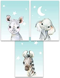 Lilcastle Lot de 3 affiches pour enfants au format A4 sans cadre pour chambre d'enfant - Beaux animaux de safari - Bébé él...