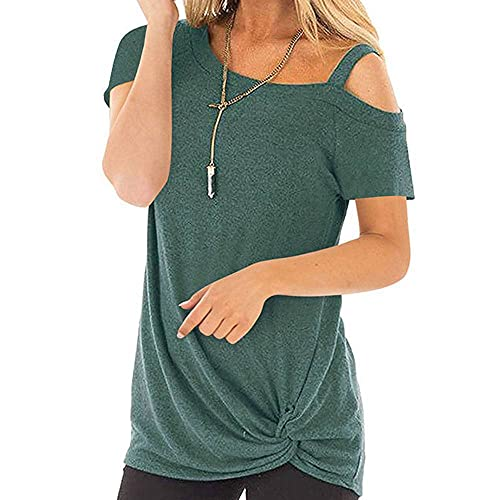 A loose, casual, twisted t-shirt top with short sleeves for women in spring and summer - Green - Small