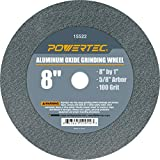POWERTEC 15522 Aluminum Oxide Grinding Wheel, 8' x 1', 5/8' Arbor, 100 Grit