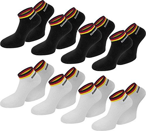 normani 8 Paar Deutschland Fan Socken Sneaker - Mit Deutschland Farben - Fahne - perfekt zur Fußball oder Handball WM/EM [Gr. 35-46] Farbe Schwarz/Weiß/Mix Größe 35/38