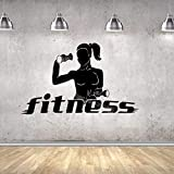 guijiumai Mujer con Mancuernas Ejercicio Etiqueta de la Pared Fitness Yoga Pump Aerobics Girl Sport Gym Decor Vinyl Decal Fitness Studio Poster 94X56CM